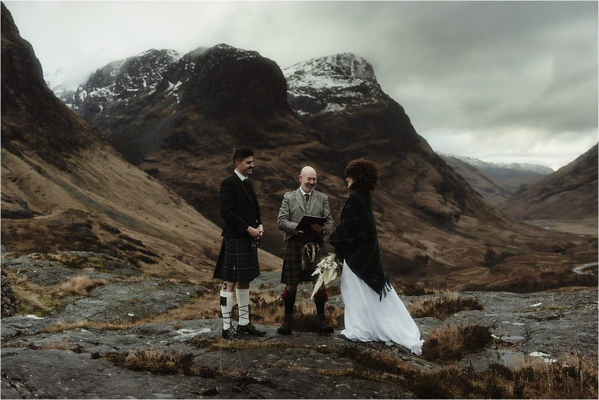 Scottish elopement ceremony taking place in Glencoe
