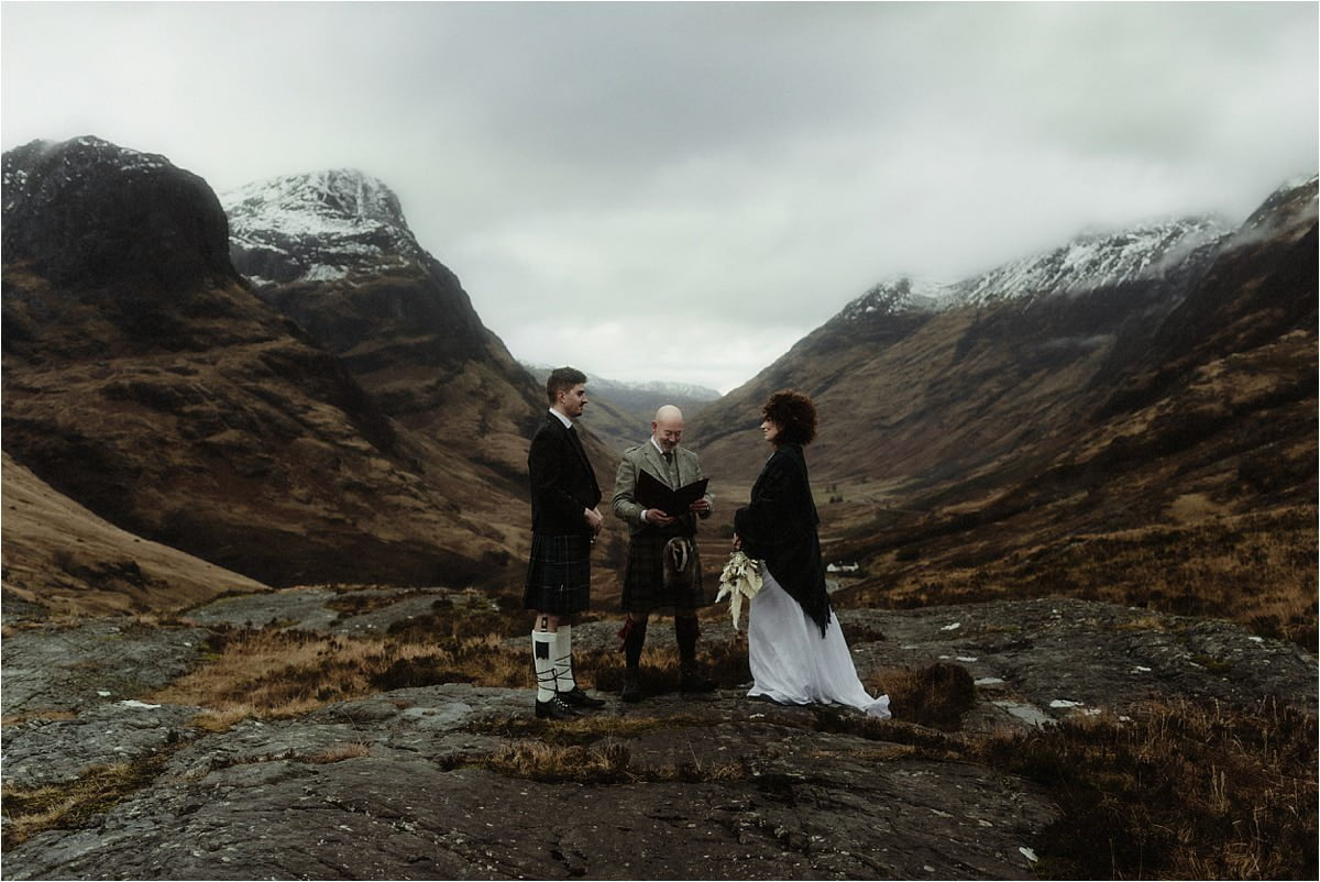 Elopement ceremony taking place in the Scottish highlands