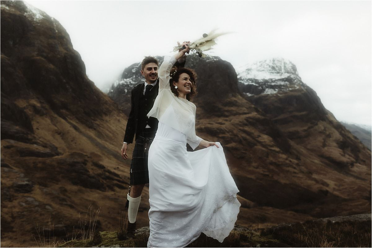bride and groom dancing during their Scottish elopement
