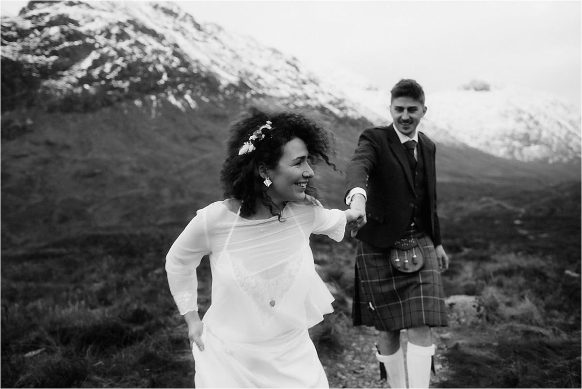 bride and groom in the Scottish highlands