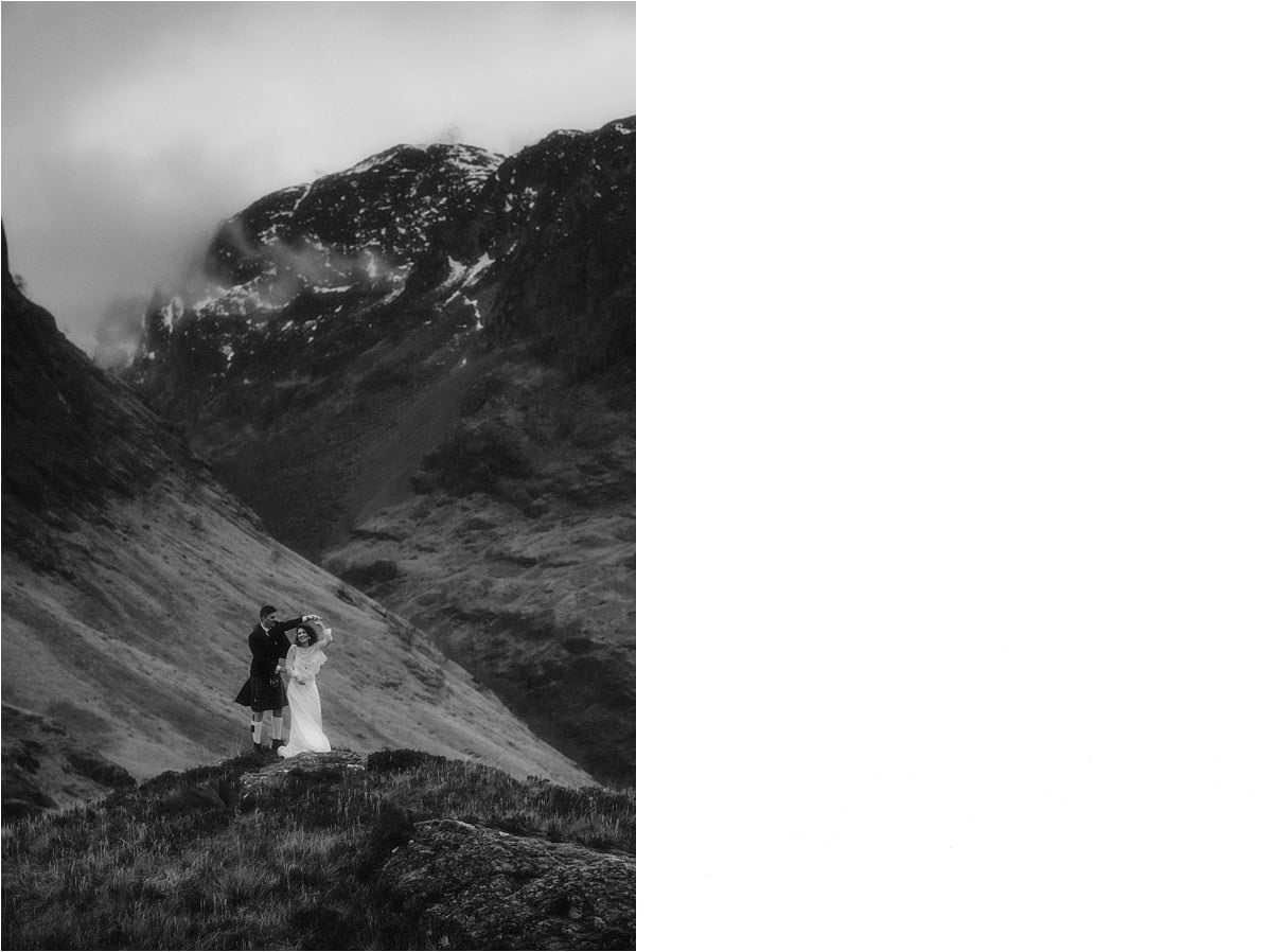 elopement couple dancing in Glencoe after they eloped to scotland