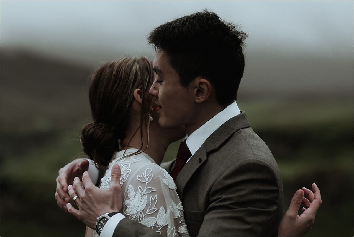 scottish elopement couple hugging on Skye