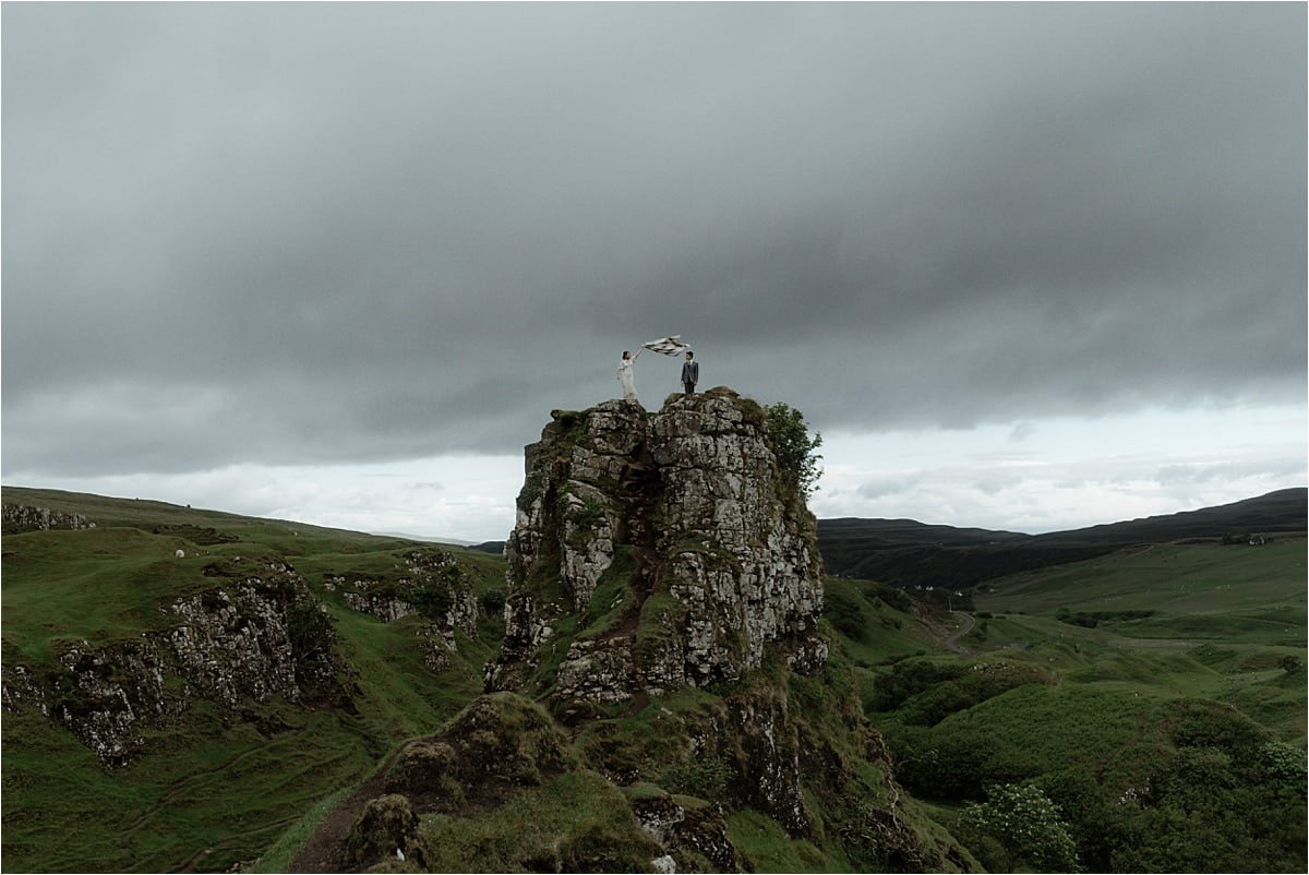 isle of skye elopement couple at the fairy glen