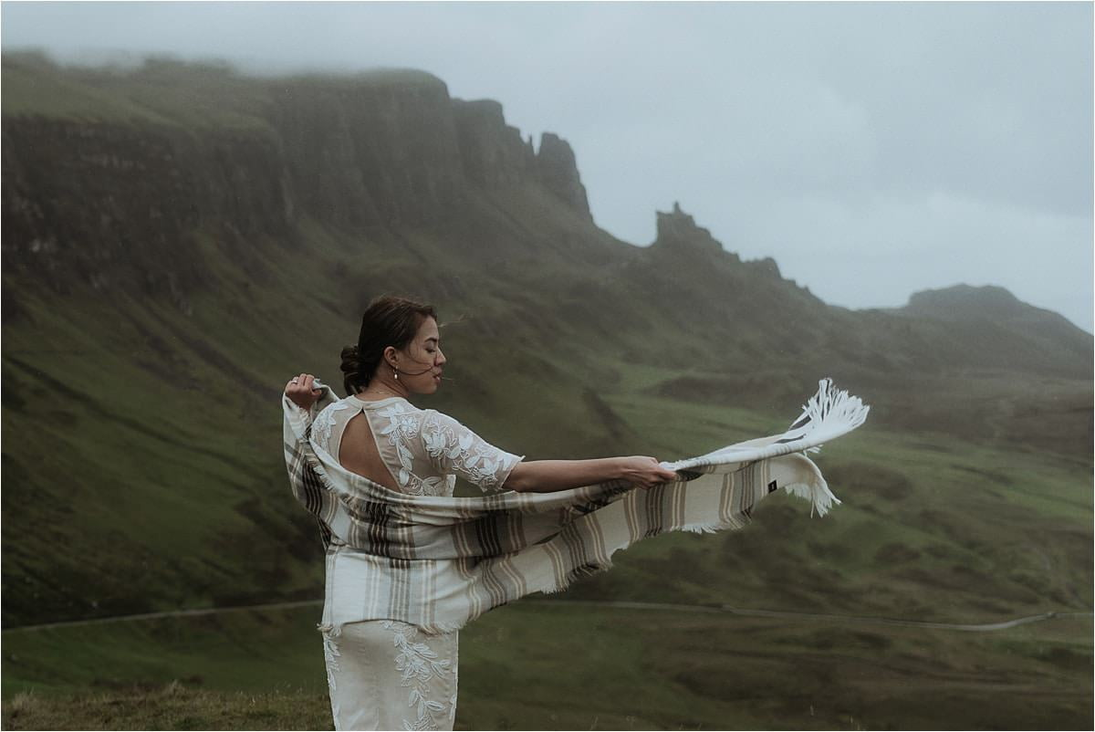 quiraing bride standing in the wind