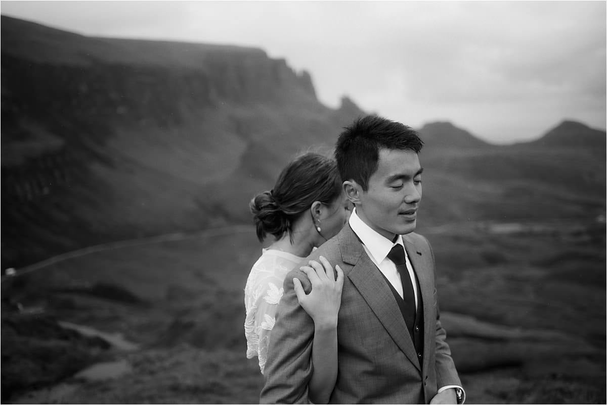 bride and groom at the quiraing during their skye elopement