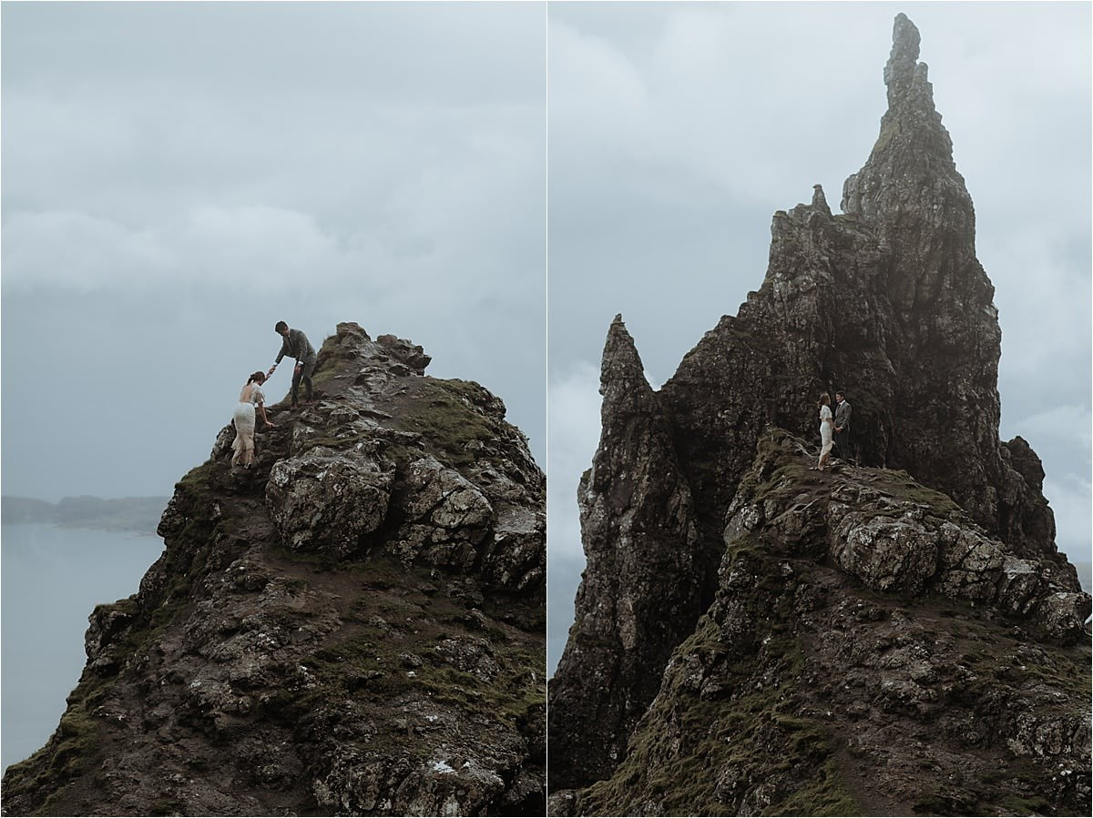 isle of skye elopement couple climbing old man of storr