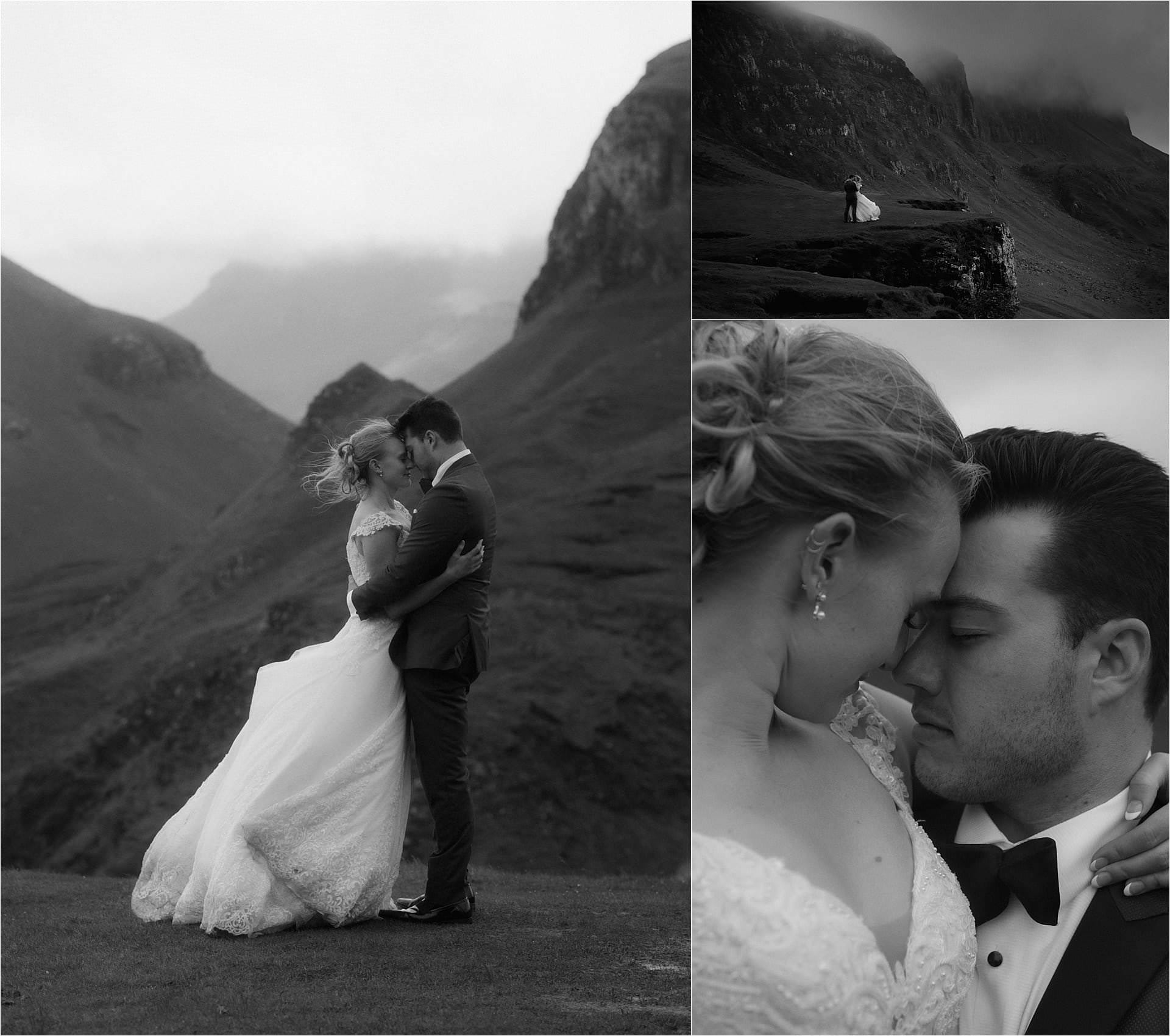isle of skye wedding couple at the quiraing