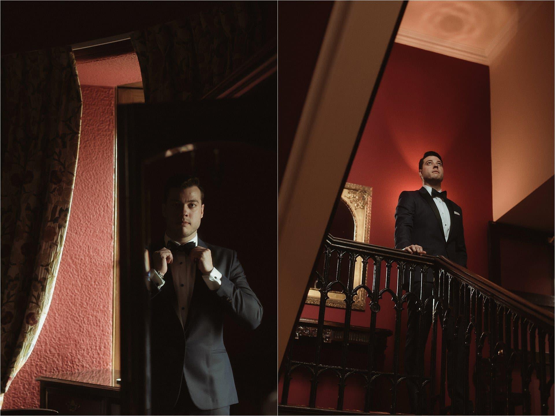 scotland wedding photographer dalhousie castle groom getting ready