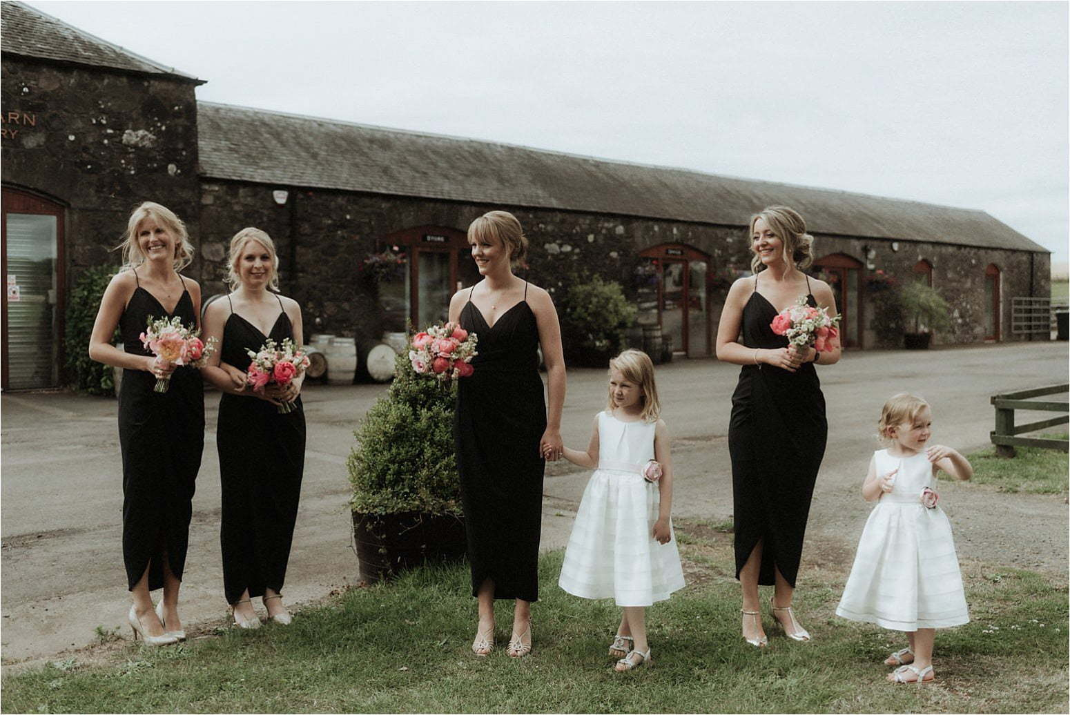 scottish wedding at bachilton barn bridesmaids wait