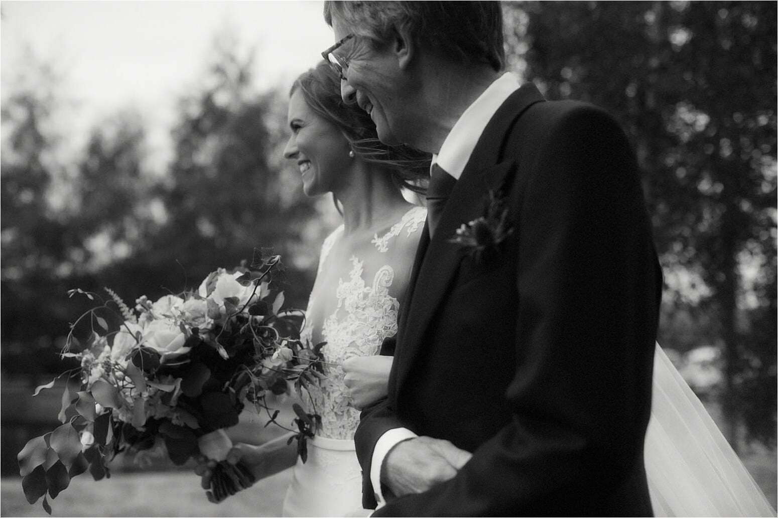scottish wedding at bachilton barn bride walks with dad