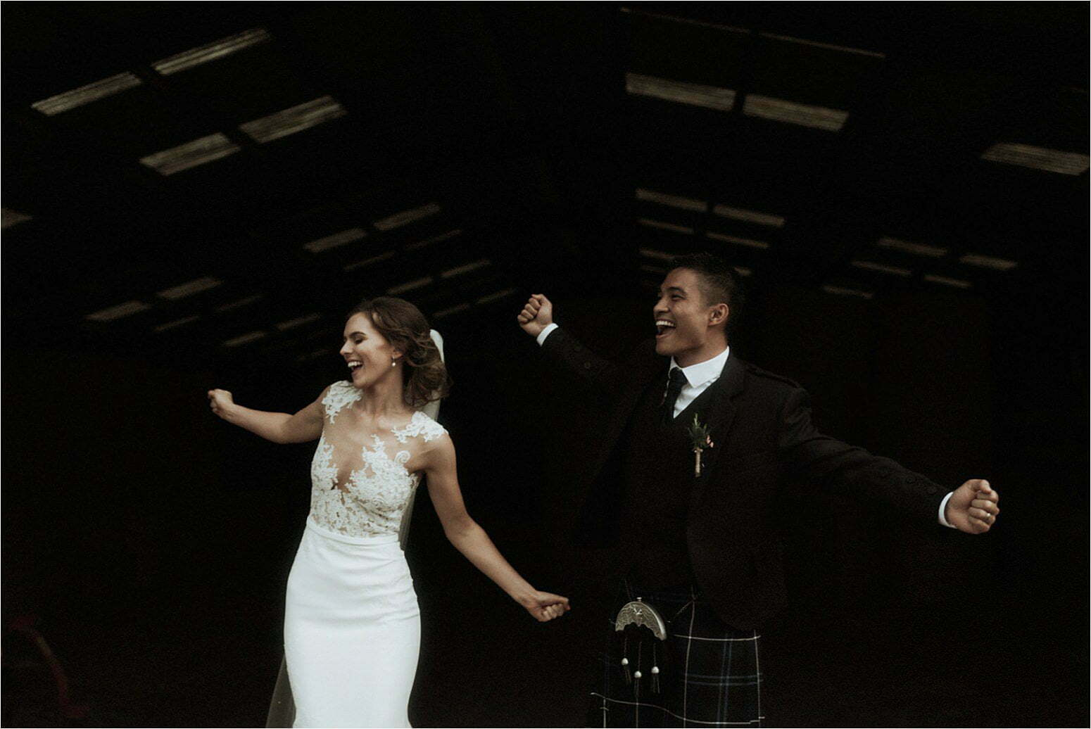 bride and groom at their wedding in scotland at bachilton barn