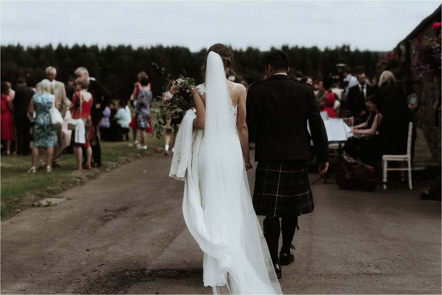bride and groom during their scottish wedding