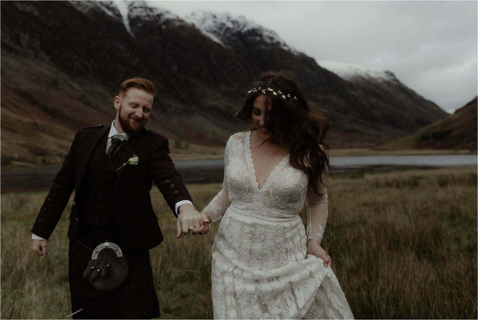 bride and groom during elopement in scotland in glencoe