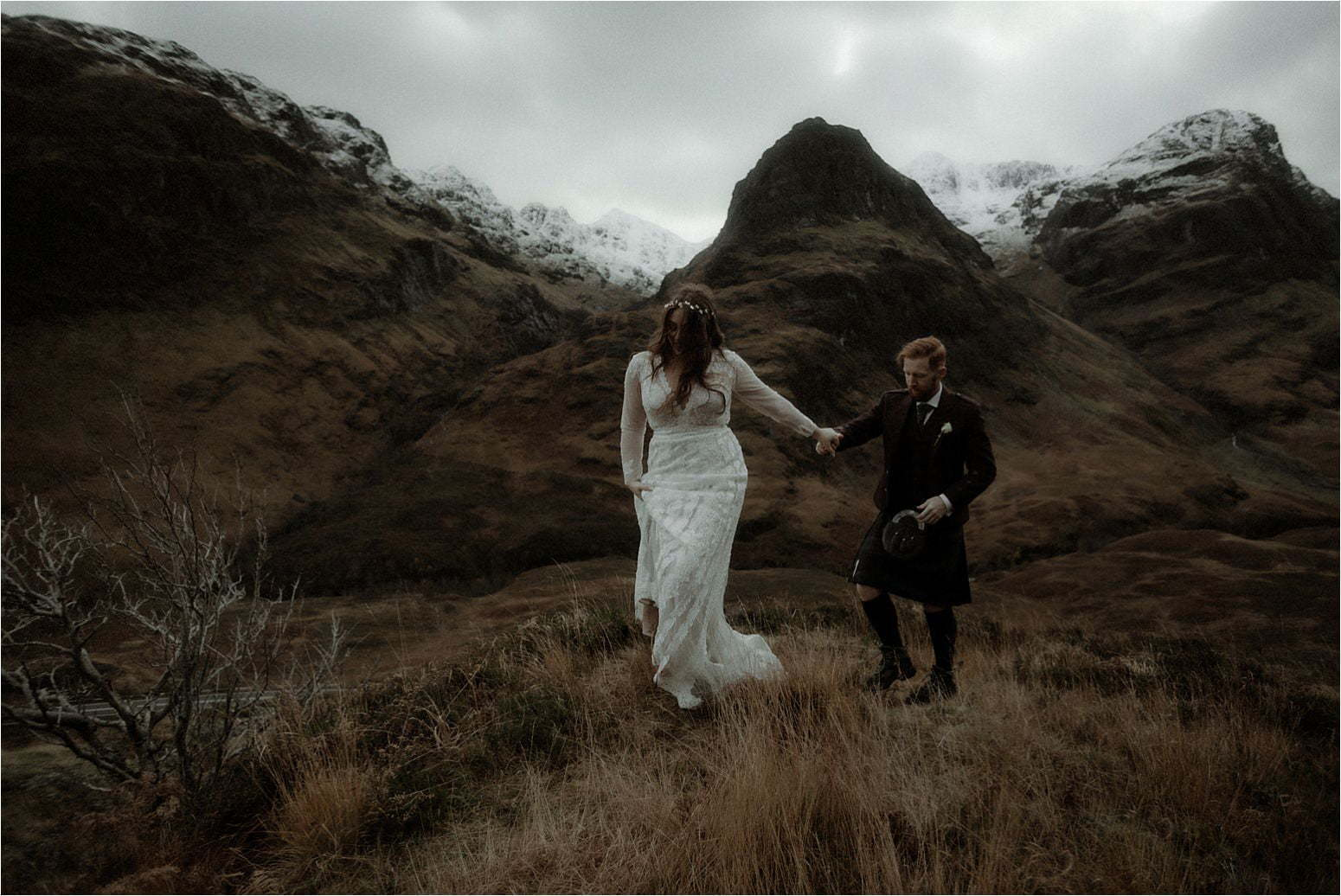 elope in scotland couple dancing in the mountains of glencoe