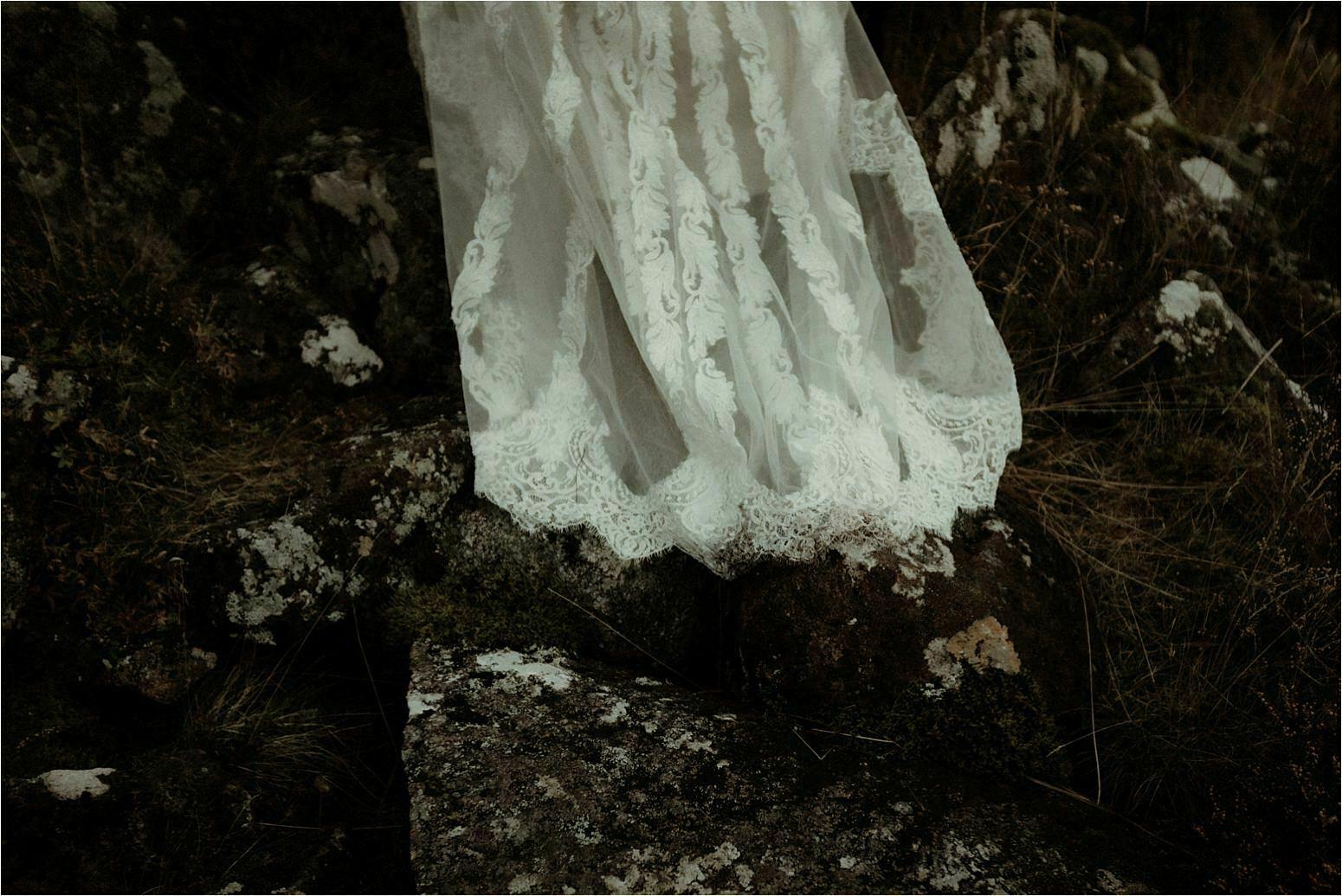 bride dress during an elopement in scotland