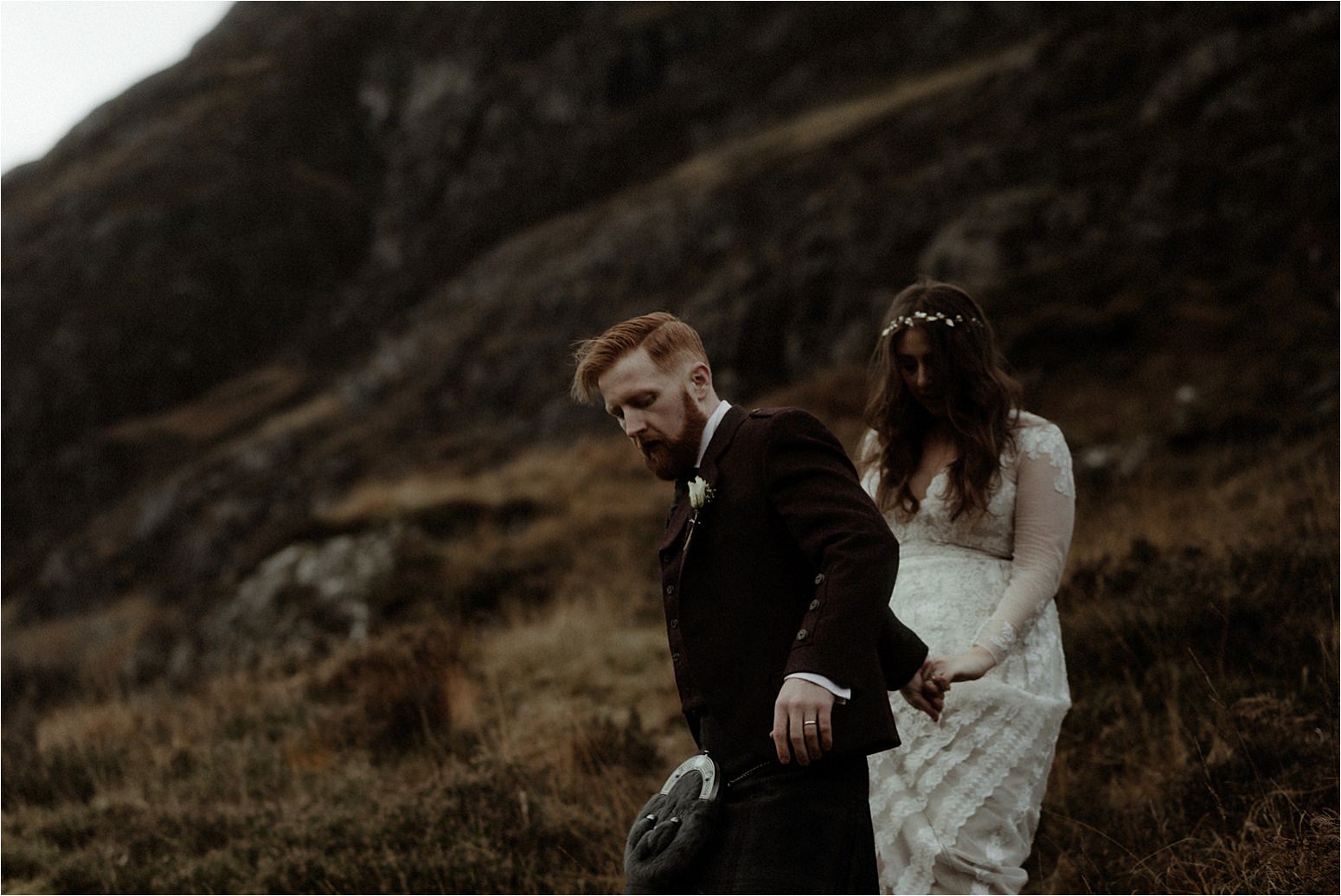 bride and groom during elopement in scotland