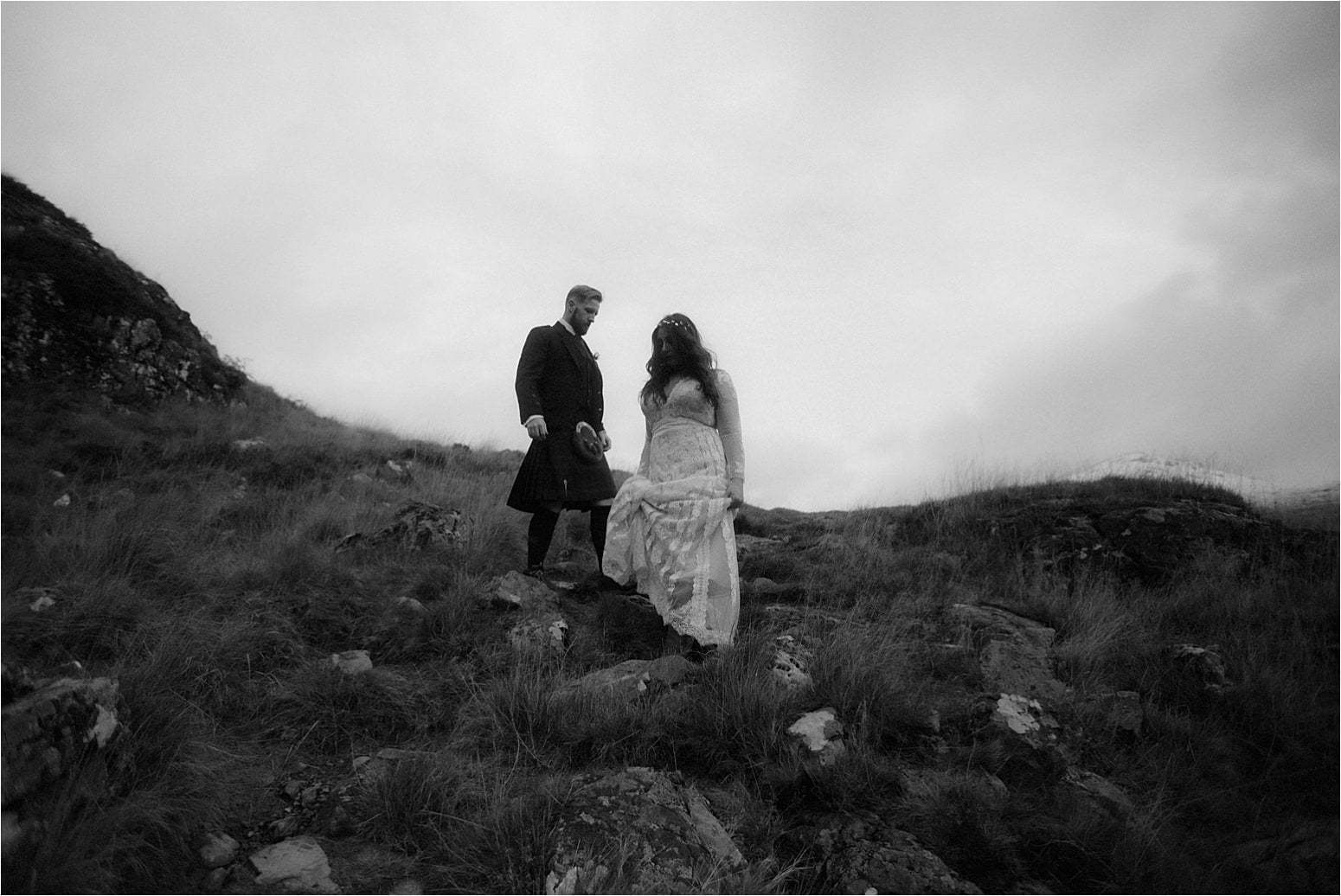 bride and groom during glencoe elope