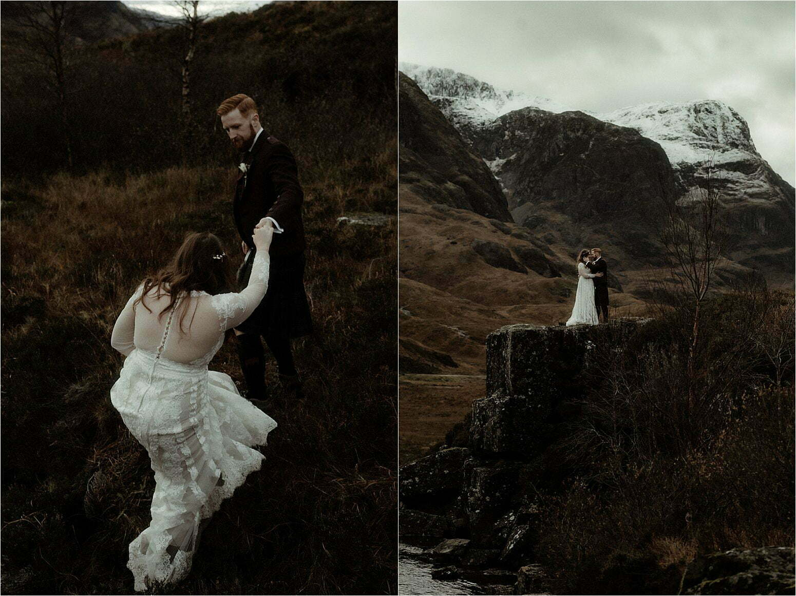 couple in glencoe during scottish elopement