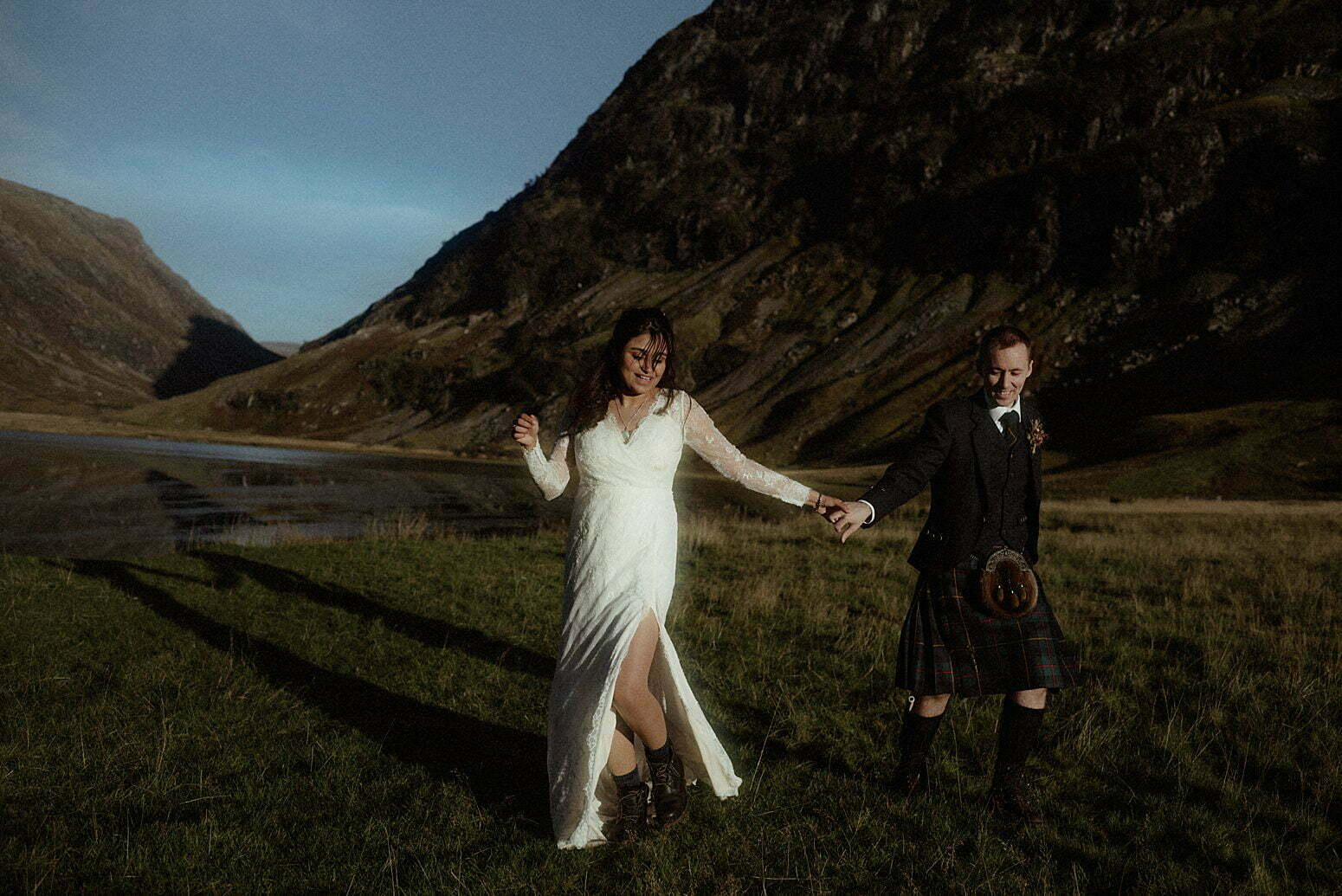 Autumn elopement in Scotland and a couple dancing in Glencoe