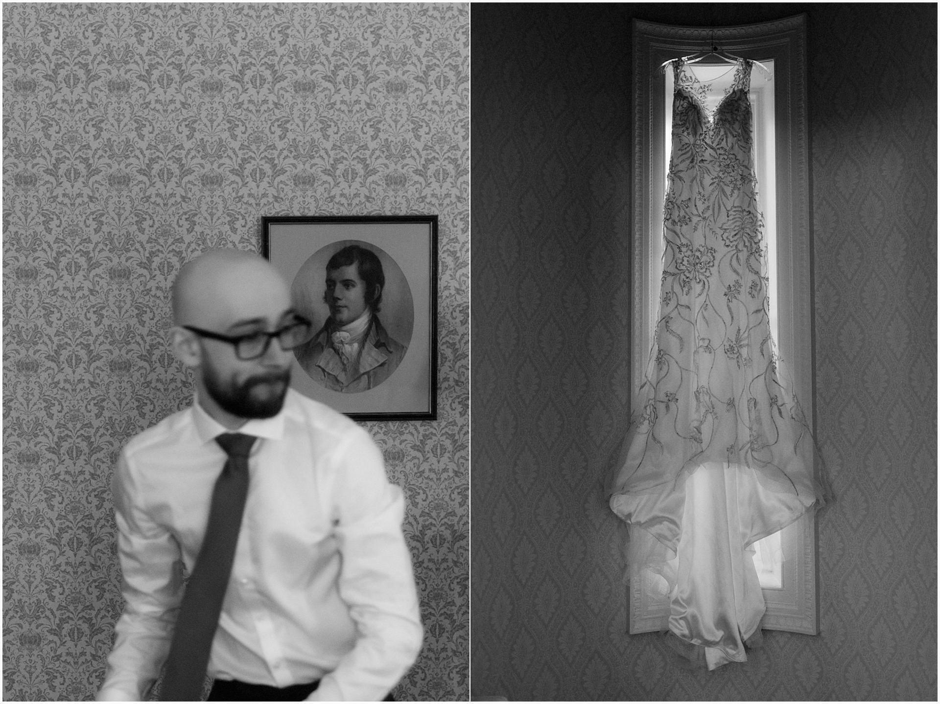 Scotland elopement at glenapp castle groom preparations