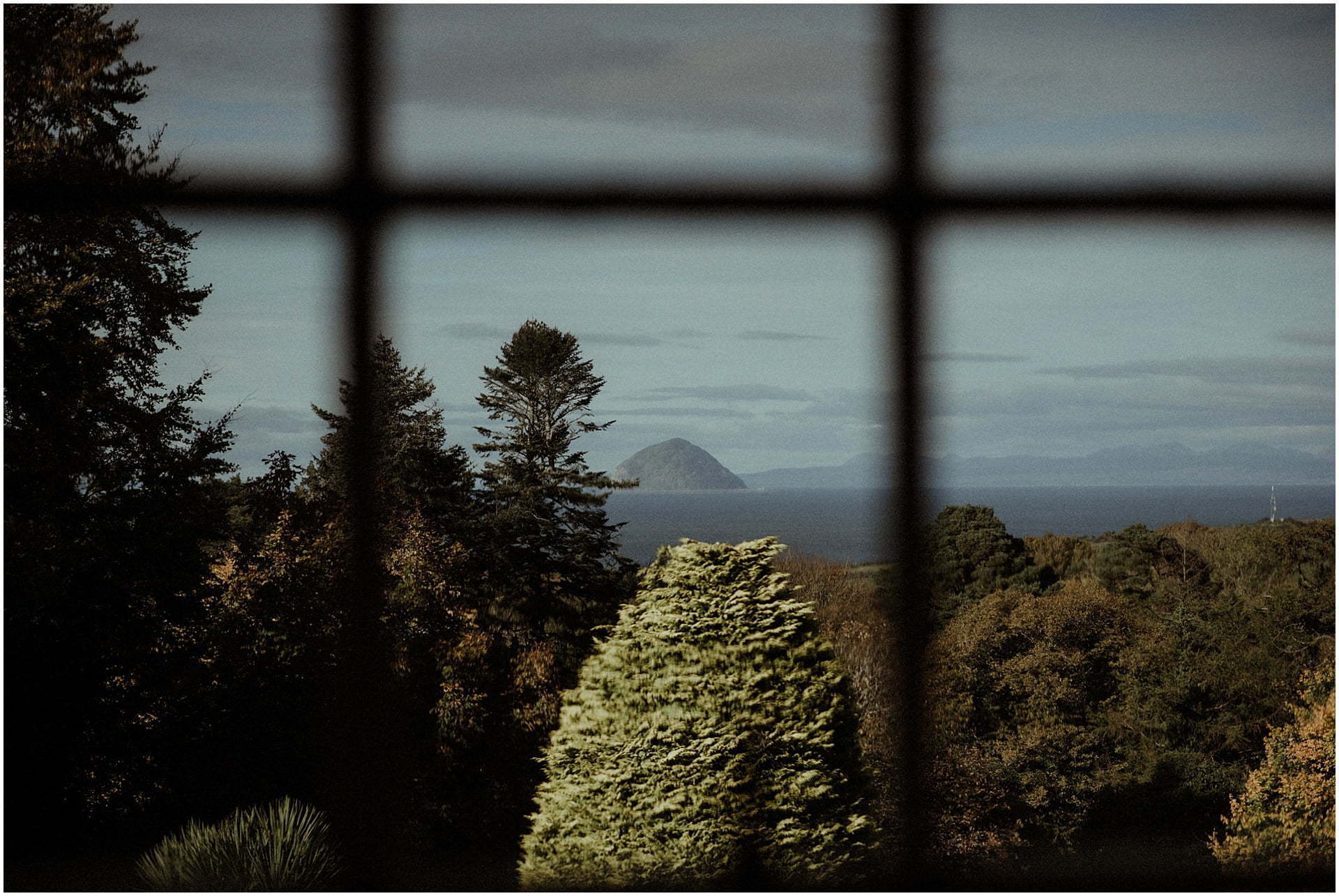 view from Glenapp castle to ailsa craig