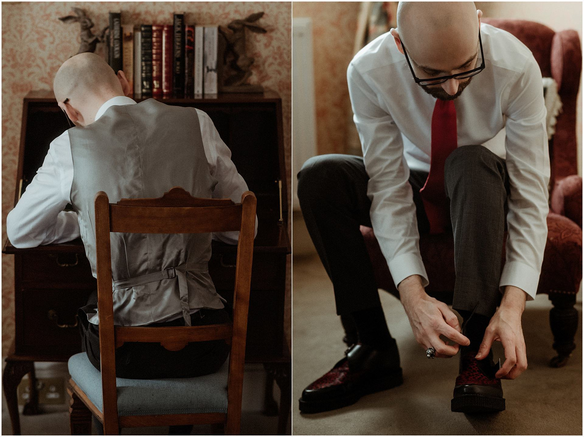 groom preparation during scotland elopement
