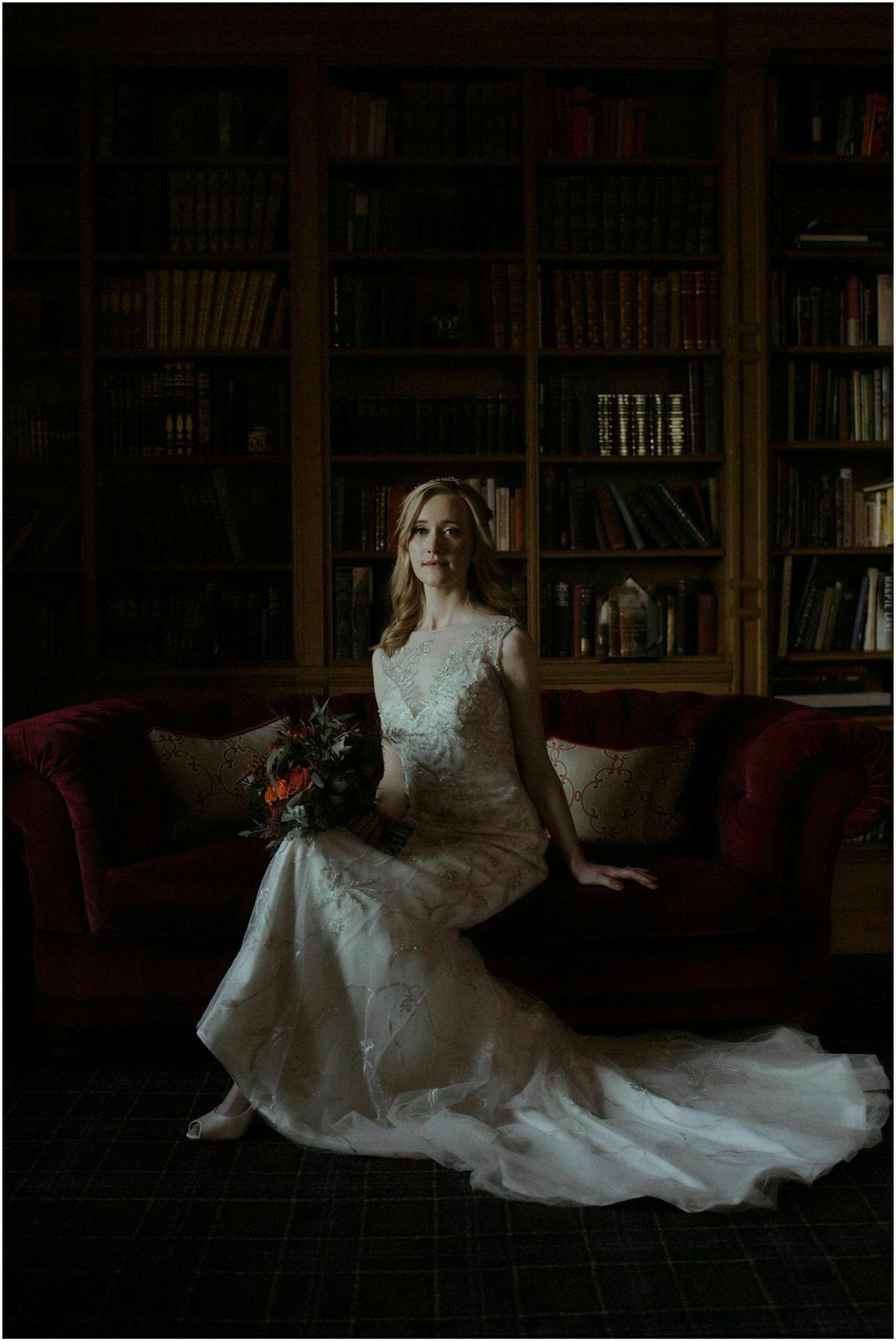portrait of a bride at glenapp castle during her elopement in scotland