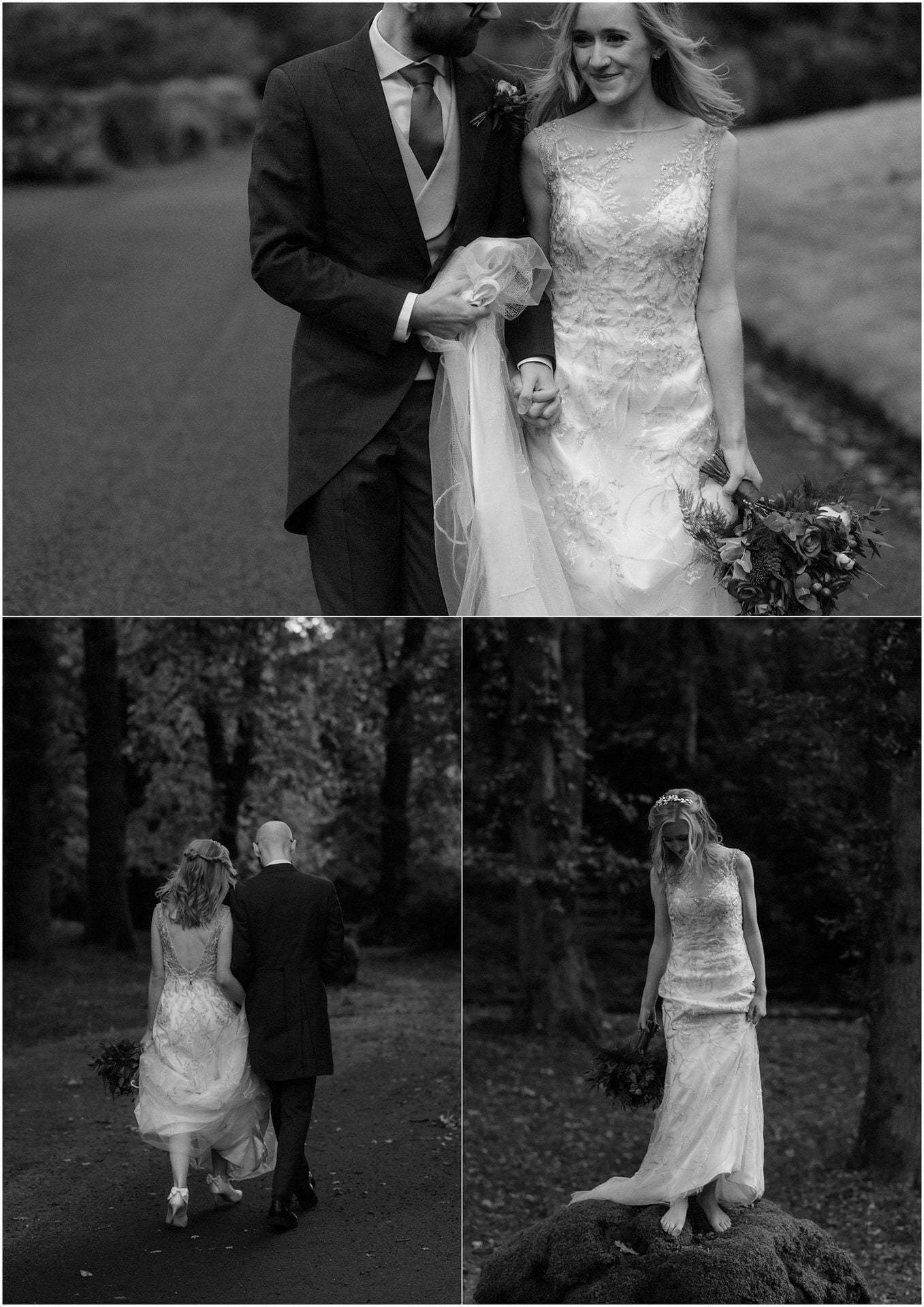 elope Scotland bride and groom walking in woodland