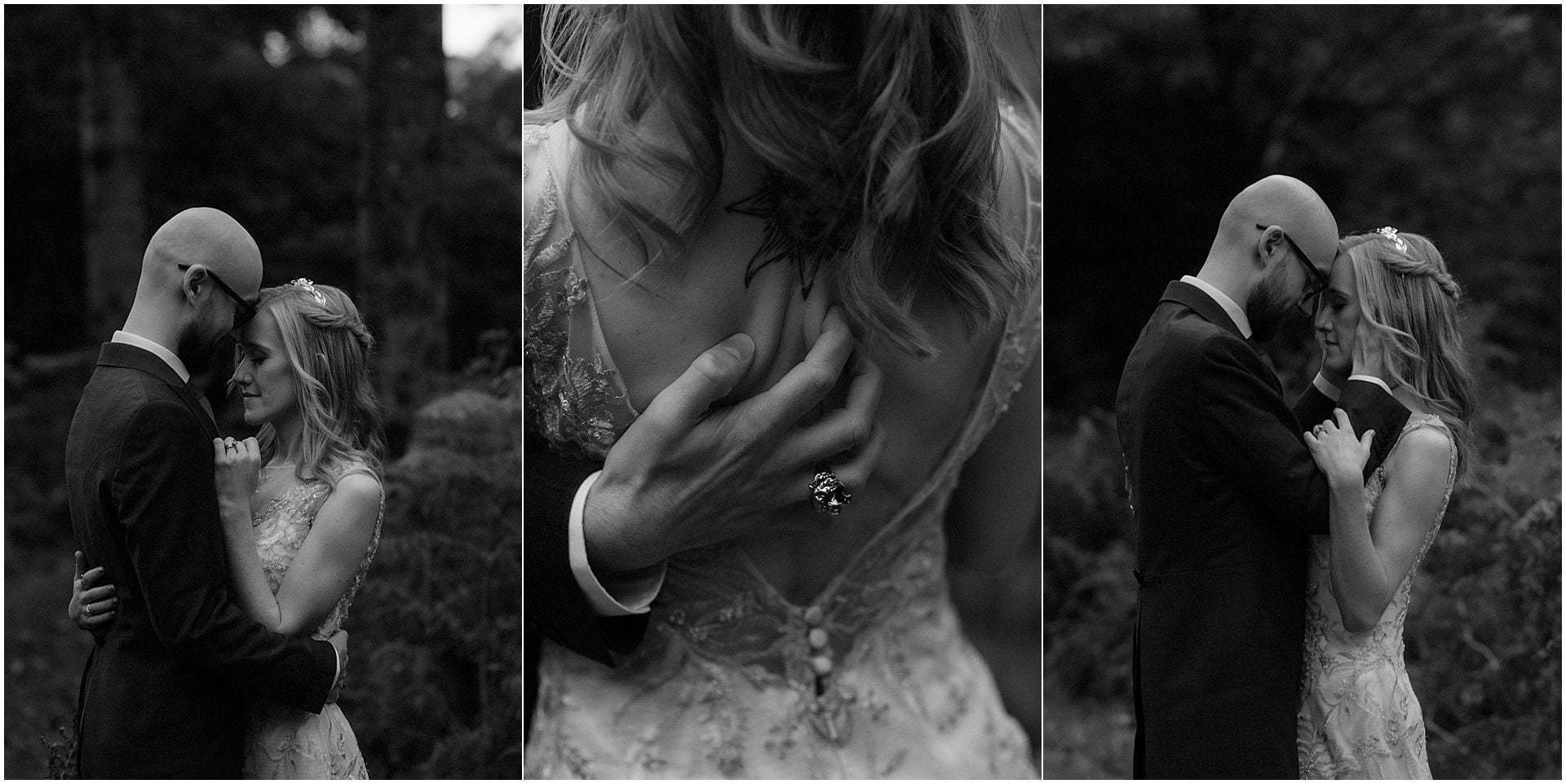 Scottish elopement on the West coast bride and groom walking in woodland