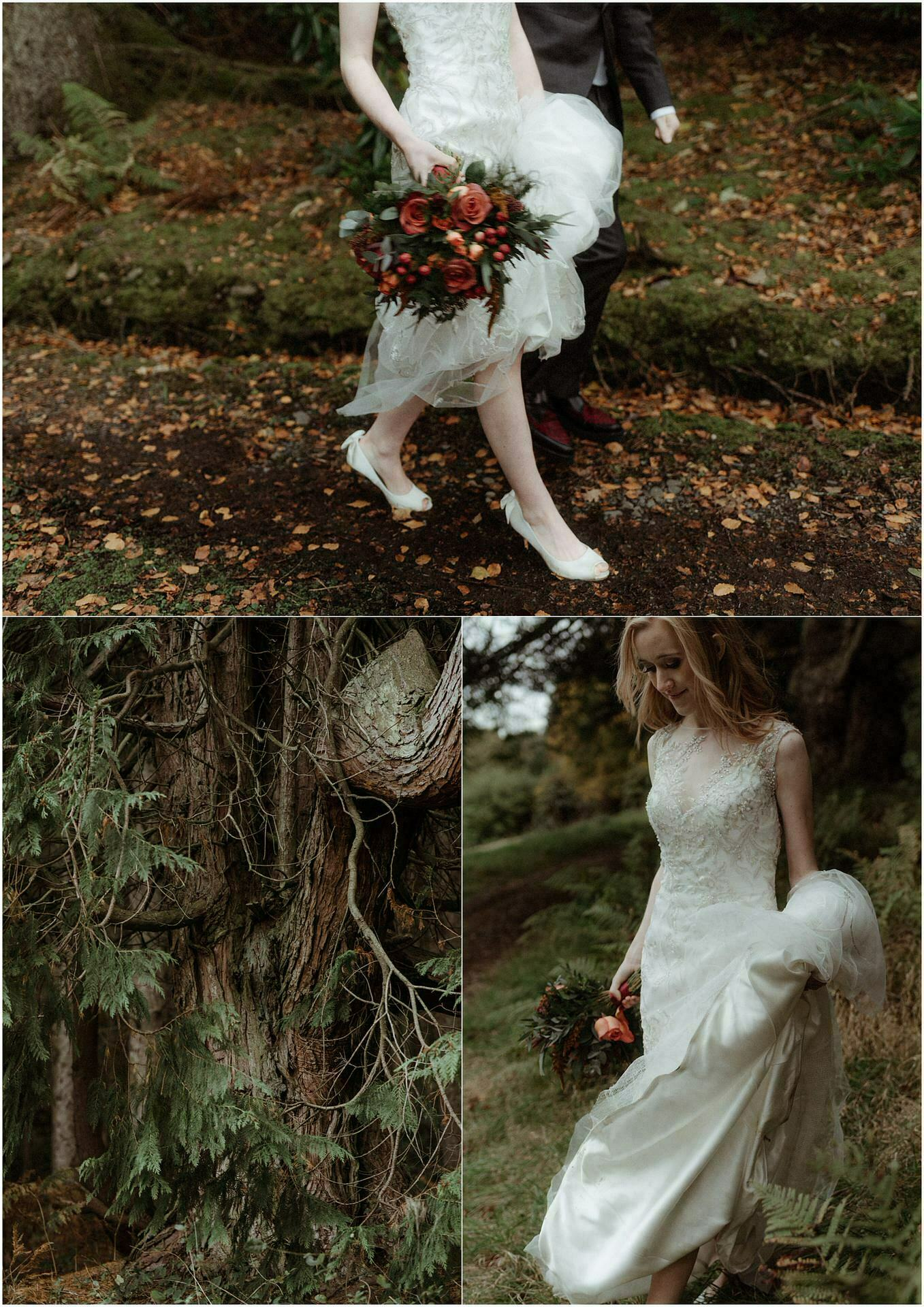scotland wedding bride walking in woods